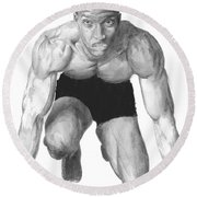 Round Beach Towel featuring the drawing Johnson by Tamir Barkan