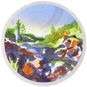 Round Beach Towel featuring the painting Johnsons Shut Ins by Kip DeVore