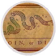 Join Or Die Benjamin Franklin Political Cartoon Pennsylvania Gazette Commentary 1754 On Parchment  Round Beach Towel