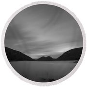 Jordan Pond Blue Hour Bw Round Beach Towel
