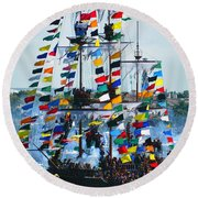 Jose Gasparilla Ship Work B Round Beach Towel