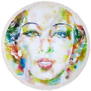 Josephine Baker - Watercolor Portrait Round Beach Towel by Fabrizio Cassetta