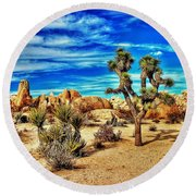 Round Beach Towel featuring the photograph Joshua Tree by Benjamin Yeager