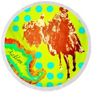 Round Beach Towel featuring the painting Journey To Aztlan by Michelle Dallocchio