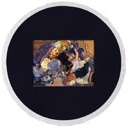 Round Beach Towel featuring the mixed media Joy In The Morning by Gail Kirtz