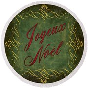 Joyeux Noel In Green And Red Round Beach Towel