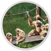 Joyful Monkey Family Round Beach Towel