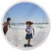 Joyful Play Of Children Round Beach Towel by Charles Beeler