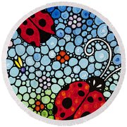 Joyous Ladies Ladybugs Round Beach Towel