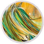 Joyous Soul- Yellow And Turquoise Artwork Round Beach Towel