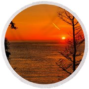 Juan De Fuca Sunset Round Beach Towel