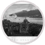 Juan Sebastian Elcano Arrival To The Port Of Ferrol Round Beach Towel
