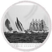 Juan Sebastian Elcano Departing The Port Of Cadiz Round Beach Towel