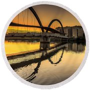 Jubia Bridge Naron Galicia Spain Round Beach Towel