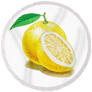 Juicy Grapefruit Round Beach Towel by Irina Sztukowski