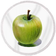 Juicy Green Apple Round Beach Towel by Irina Sztukowski
