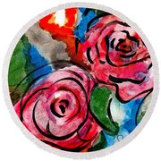 Juicy Red Roses Round Beach Towel