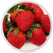 Juicy Strawberries Round Beach Towel by Barbara Griffin