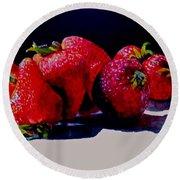 Juicy Strawberries Round Beach Towel by Sher Nasser