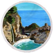 Julia's Waterfall Round Beach Towel