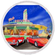 Julies Corvettes Round Beach Towel