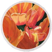 Julie's Tulips Round Beach Towel