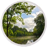 July Fourth Duck Pond With Goose Round Beach Towel