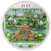 July Wc On Paper Round Beach Towel