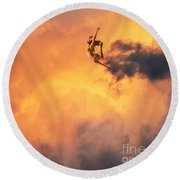 'jump Into The Fire' Round Beach Towel