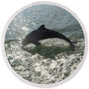 Jumping For Joy Round Beach Towel