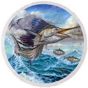 Jumping Sailfish And Small Fish Round Beach Towel