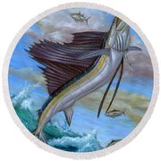 Jumping Sailfish Round Beach Towel