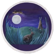 Jumping The Moon Round Beach Towel