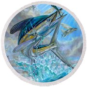 Jumping White Marlin And Flying Fish Round Beach Towel