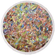 Round Beach Towel featuring the painting June by James W Johnson