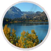June Lake Blues And Golds Round Beach Towel by Lynn Bauer