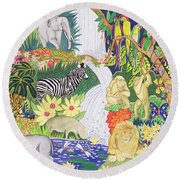 Jungle Animals Wc Round Beach Towel