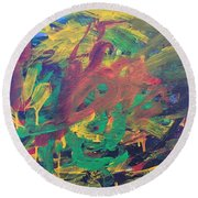 Round Beach Towel featuring the painting Jungle by Donald J Ryker III