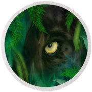 Jungle Eyes - Panther Round Beach Towel by Carol Cavalaris
