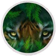 Jungle Eyes - Tiger Round Beach Towel