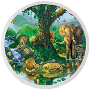 Jungle Harmony Round Beach Towel by Chris Heitt