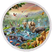Jungle River Round Beach Towel
