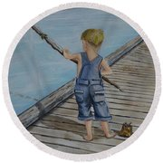 Round Beach Towel featuring the painting Juniors Amazing Fishing Pole by Kelly Mills