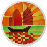 Round Beach Towel featuring the painting Junk On A Sea Of Green by Tracey Harrington-Simpson