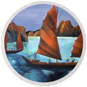 Round Beach Towel featuring the painting Junks In The Descending Dragon Bay by Tracey Harrington-Simpson