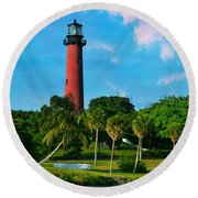 Jupiter Florida Lighthouse Round Beach Towel