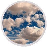 Just A Face In The Clouds Round Beach Towel