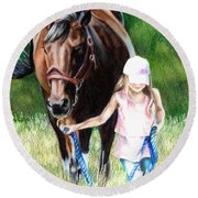 Just A Girl And Her Horse Round Beach Towel by Shana Rowe Jackson