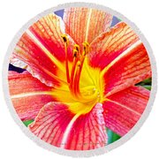 Just Another Day Lilly Round Beach Towel by Mayhem Mediums