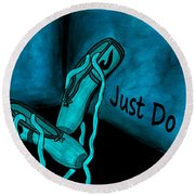 Just Do It - Blue Round Beach Towel